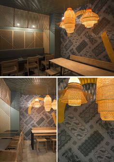 In this contemporary restaurant, the shadows from the lights behind the wooden wall panels and the pendant lights, make for a unique shadow pattern on the ceiling and walls.