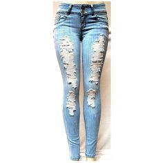 LIGHT BLUE WOMENS Denim Stretch JEANS Destroy Skinny LEG Ripped... (30 CAD) ❤ liked on Polyvore