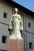 Lucrecia de Borja Memorial among statues of the Borgia or Borja noble family House of Borgia, Gandia, Costa Blanca, Valencia Province, Spain