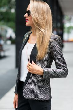 The Classy Cubicle: Lasers and Tassels - love the jacquard blazer