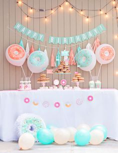 Why not throw a donut party for your kids next birthday? Check out some of our favourite ideas on how to create the look, with help from kids party expert Tanya Castellino from Life's Little Celebrations. Donut Party, Donut Birthday Parties, Birthday Party Themes, Summer Birthday, Baby Birthday, Birthday Month, Birthday Themes For Girls, Birthday Recipes, 15th Birthday