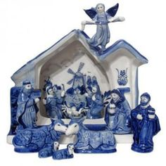 Delft blue nativity set (Blue and white: from Sue, of course! Blue And White China, Blue China, Love Blue, New Blue, Christmas Nativity Set, Noel Christmas, White Christmas, Christmas Gifts, Christmas Specials