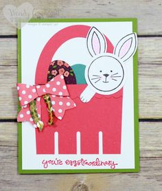 Easter Bunny Basket Card by WendyCranford - Cards and Paper Crafts at Splitcoaststampers