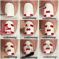 Give style to your nails by using nail art designs. Worn by fashionable personalities, these types of nail designs will incorporate instant style to your apparel. Cherry Nail Art, Fruit Nail Art, Pink Nail Art, Cute Nail Art, Nail Art Diy, Diy Nails, Manicure, How To Nail Art, Beautiful Nail Designs