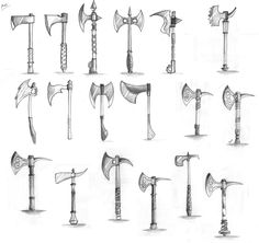 Axe Weapon Drafts by NoveliaProductions on deviantART Axe Drawing, Sword Drawing, Drawing Tips, Drawing Reference, Axe Tattoo, Character Art, Character Design, Types Of Swords, Sword Design