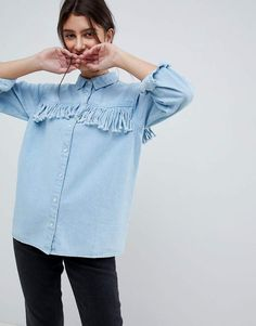 Asos Design ASOS DESIGN denim fringed shirt in midwash blue#petitewomensclothing#trendypetiteclothing#inexpensivepetiteclothes#designerpetiteclothing#fashionablepetiteclothing#petitedresses#outfitideasforwomen#outfits#trendy#trendyoutfitsforwomen#springoutfits#denim#denimondenim#denimoutfit#denimoutfitideas#denimoutfitideasforwomen#denimfemale#denimshirt#denimshirtdress#denimshirtoutfit#denimshirtoutfitspring#denimshirtoutfitwinter#ad