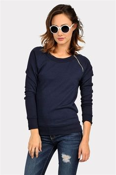 navy. sweatshirt. zip.