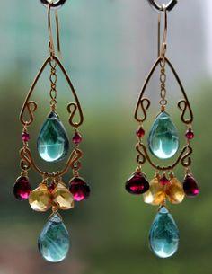 Beautiful gemstone waterfall/chandelier earrings