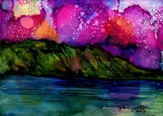 Mystical Na Pali 2 Original Alcohol Inks on Yupo by kauaiartist, $35.00