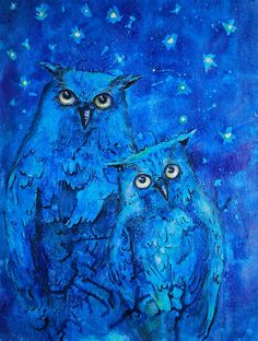 Mother & Baby Owl ink painting ~ Linda Brown