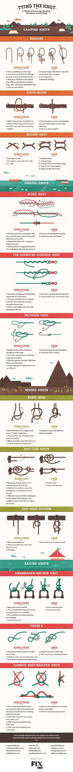 Tying the Knot, A Helpful Infographic Explaining How to Tie Different Knots for Different Jobs
