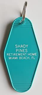 """The Golden Girls Shady Pines Inspired Key Tag """"Thank you For Being a Friend"""" Teal/White Measures approx Inches x Inches Brand New! """"Senior Living at It's Finest"""" """"Shady Pines, Ma."""