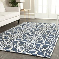 Safavieh Cambridge Collection CAM133G Handcrafted Moroccan Geometric Navy and Ivory Premium Wool Area Rug (9' x 12')