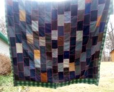 Suit Quilt, Vintage Quilt , !950 Quilt, Suit Fabric , Vintage Linens, by rpreserved on Etsy