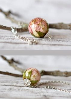 Real Light Pink Rosebud Resin Sphere Pendant Necklace - Pressed Flower Resin Jewelry - Rosebud Resin Ball - Real Rose Necklace