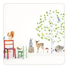 Birch Woodland Movable, PVC free, Fabric Wall Stickers