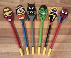 I like therese superhero spoonsAS Eyfs Activities, Nursery Activities, Wooden Spoon Crafts, Wooden Spoons, Painted Spoons, Painted Pebbles, Superhero Classroom, Superhero School Theme, Story Sack