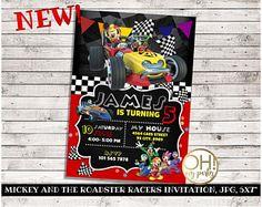 Mickey y la invitación de cumpleaños de corredores Roadster, Mickey y el partido Roadster corredores, Mickey y el cumpleaños de corredores Roadster, Mickey