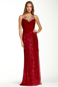 Marchesa Notte Embroidered Floral Silk Gown