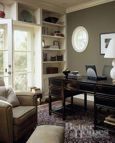 until tomorrow: BHG - Slick, sophisticated, urban office. black desk rug, french doors, built-ins, ...