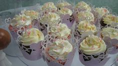 Rose Quartz Sparkle Bridal  Matching Cut Cupcake Wrappers created by Above & Beyond - Custom Events & Stationery