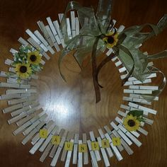 Laundry room clothes pin wreath