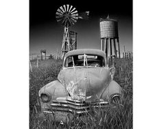 Abandoned Vintage Auto on a Prairie Farm with Windmill and Water Tower in either Black & White or Sepia No.31725 Fine Art Rural Photography