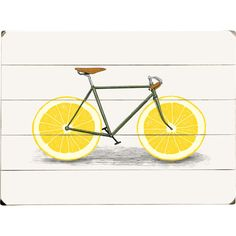 Add country-chic style to your living room or den with this charming planked wood wall decor, showcasing a bicycle print and lemon details. ...