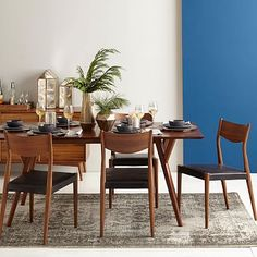 "Mid-Century Expandable Dining Table #westelm I think the medium-sized option would work well in your space.  Is 60"" without leaf and then 80"" with."