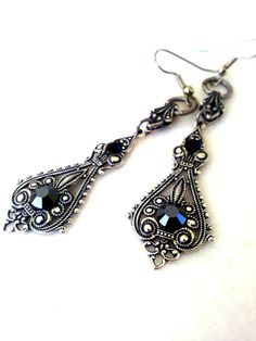 355896a4eb6 gothic filigree earrings antiqued silver by ApplebiteJewelry