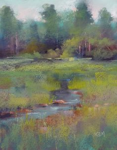 Summer Creek Landscape Original Pastel by KarenMargulisFineArt, $145.00
