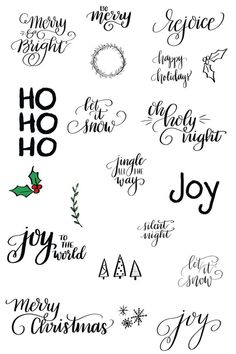 business thank you cards Create your own holiday projects including cards, gift tags, framed prints, and more with these original hand lettered images. Each image is personally Abc Letra, Cricut, Will Turner, Brush Lettering, Craft Sale, Bujo, Gift Tags, Alphabet, Christmas Crafts