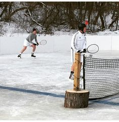 insolite glace patin tennis
