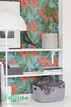 Hibiscus Wallpaper Pattern   Removable Wallpaper   Tropical Wallpaper   Hibiscus Wall Sticker   Tropical Wall Decal   Self Adhesive Wallpaper