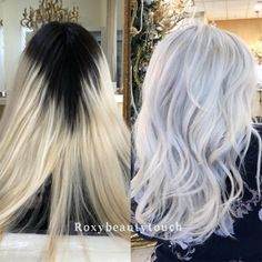 Color correction: platinum touch-up Ice Blonde Hair, Dark Roots Blonde Hair, Icy Blonde, Blonde Color, Blonde Balayage, Dark Hair, Silver Platinum Hair, Platinum Hair Color, Color Correction Hair