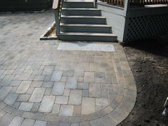 Paver patio with granite inlay
