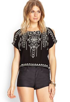 Tribal Print Woven Top | I'd do it with white shorts or jeans.