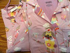 Nick & Nora NWT Baking Sock Monkeys Chalk Violet Pajama Set 2 Piece Sz S #NickNora #PajamaSets