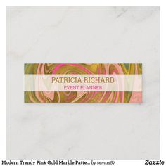 Modern Trendy Pink Gold Marble Pattern Mini Business Card Unique Business Cards, Gold Marble, Marble Pattern, Smudging, Pink And Gold, Paper Texture, Things To Come, Mini, Modern