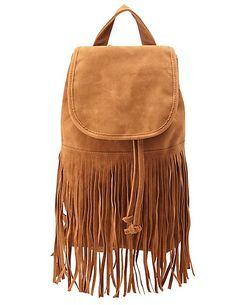 Faux Suede Fringe Backpack: Charlotte Russe #fringe #bag