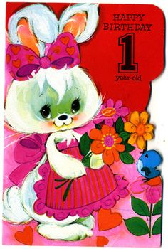 Vintage birthday card, 1979. #vintage #greetingscards #cards #70s #rabbit #flowers