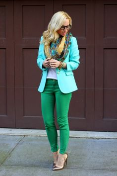 Mint green + green