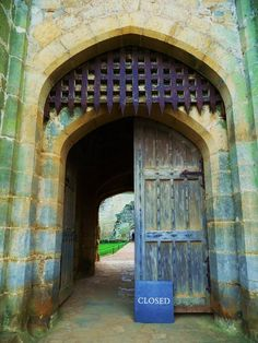 Portcullis at Bodiam Castle, East Sussex. I love how the stones and the wood have weathered over the centuries.