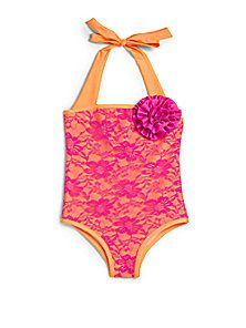 Love U Lots - Toddlers & Little Girls One-Piece Floral Lace Swimsuit