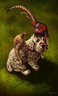 Canine Tarot - seven of Swords - the Clumber Spaniel