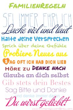 Family Rules zum an die Wand nageln - co-parenting The Words, Cool Words, Words Quotes, Sayings, Happy New Year 2014, Family Rules, Kids And Parenting, Parenting Tips, Bad Parenting Quotes