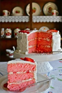 Three-Layer Strawberries and Cream Cake