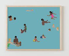 Fine Art Print.  Families in Swimming Pool, May 3, 2016.