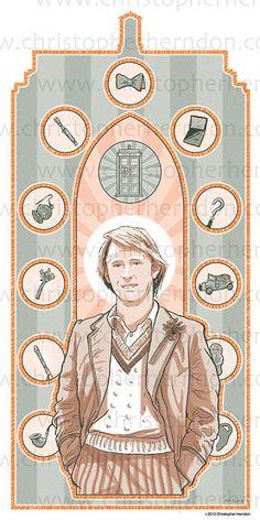 Saint Davison of Who Screen Print 11x17 Print by ChrisHerndonArt  on Etsy.com $25 Christopher Herndon Artwork Dr Who February 2015