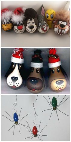 Light Bulb Art, Light Bulb Crafts, Painted Light Bulbs, Disney Christmas Decorations, Christmas Ornaments To Make, Diy Christmas Gifts, Christmas Crafts, Christmas Light Bulbs, Painted Ornaments